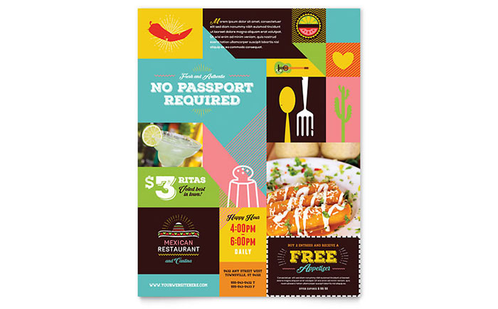 Mexican Food & Cantina Flyer Template Design