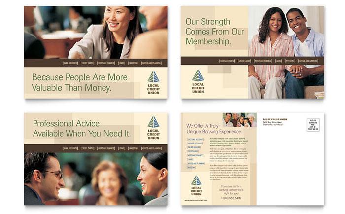 Credit Union & Bank Postcard Template Design
