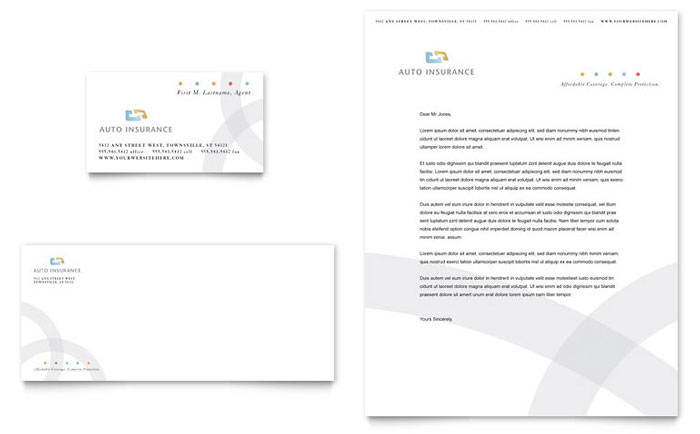 Car Insurance Company Business Card & Letterhead Template