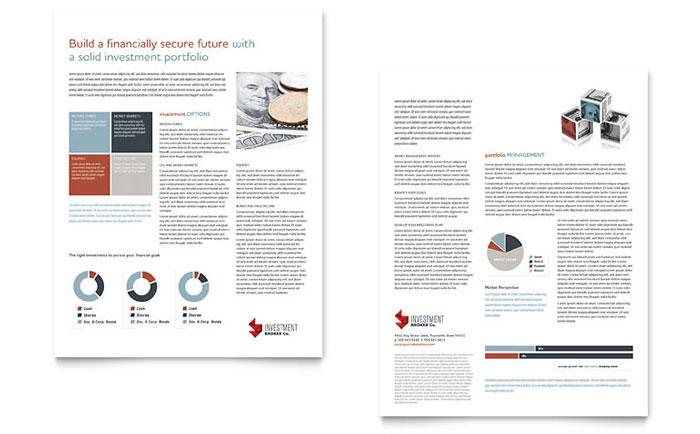 Investment Bank Datasheet Template Design