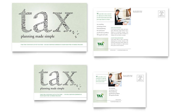 Accounting Amp Tax Services Postcard Template Design