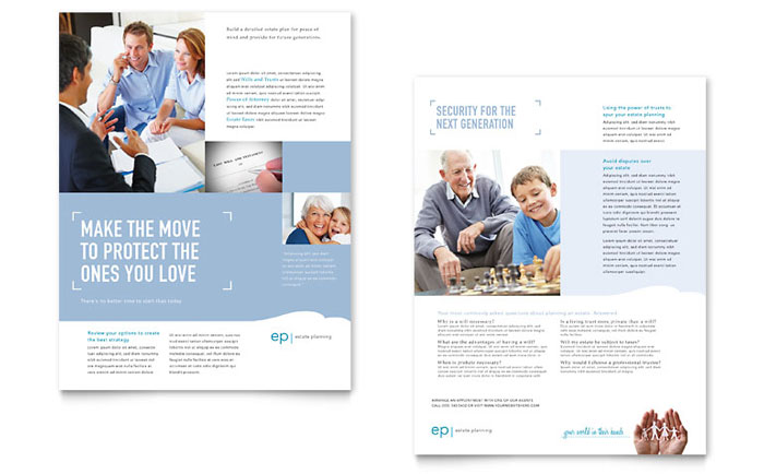 Estate Planning Datasheet Design