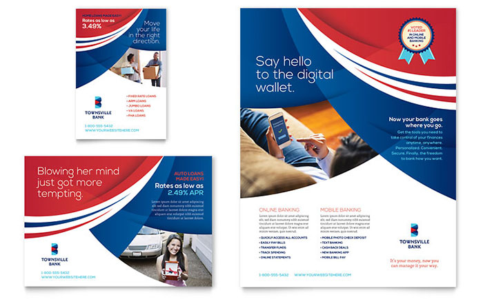 Design marketing materials for a bank without an ad agency for Ad designs