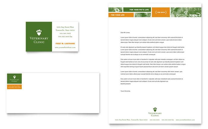 Veterinarian Clinic Business Card & Letterhead Template Design