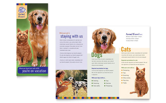 Dog Kennel & Pet Day Care Brochure Template Design