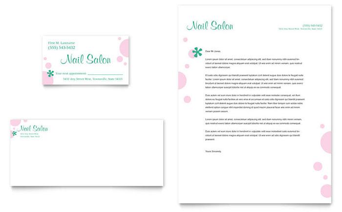 Nail Salon Business Card & Letterhead Template Design