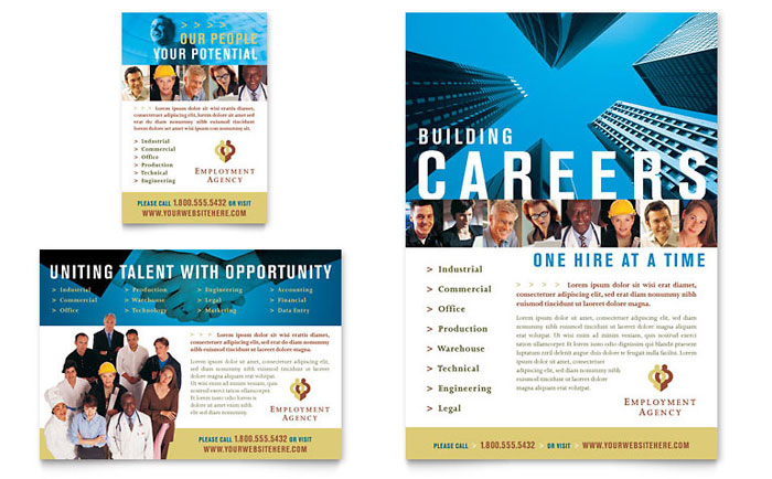 Employment Agency & Jobs Fair Brochure Template Design