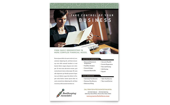Bookkeeping & Accounting Services Flyer Template Design