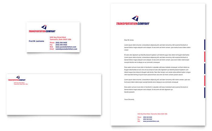 Transportation Company Business Card  Letterhead Template Design