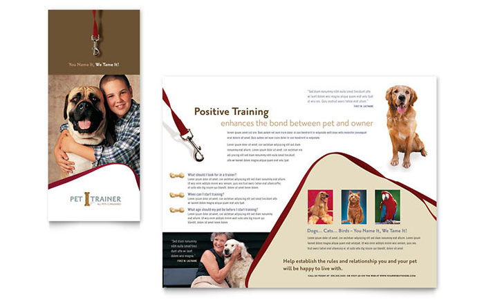 Pet Training & Dog Walking Brochure Template Design