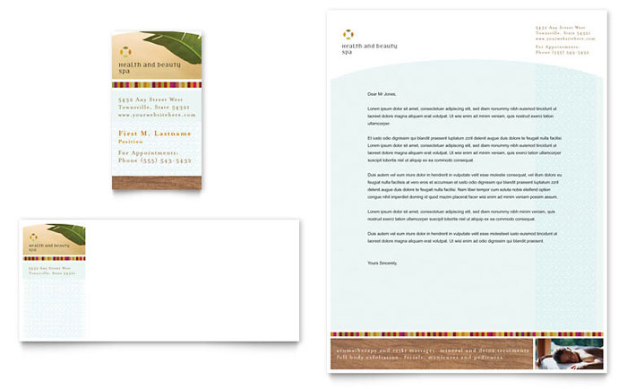 Health Amp Beauty Spa Business Card Amp Letterhead Template Design