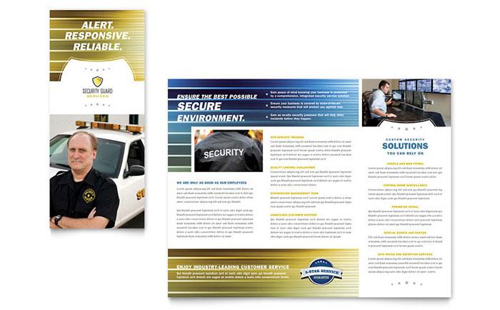 Security Guard Tri Fold Brochure Template Design