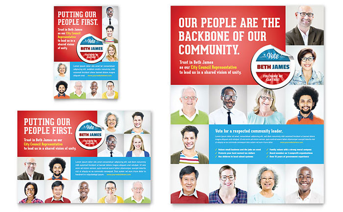 Political Candidate Flyer & Ad Template Design
