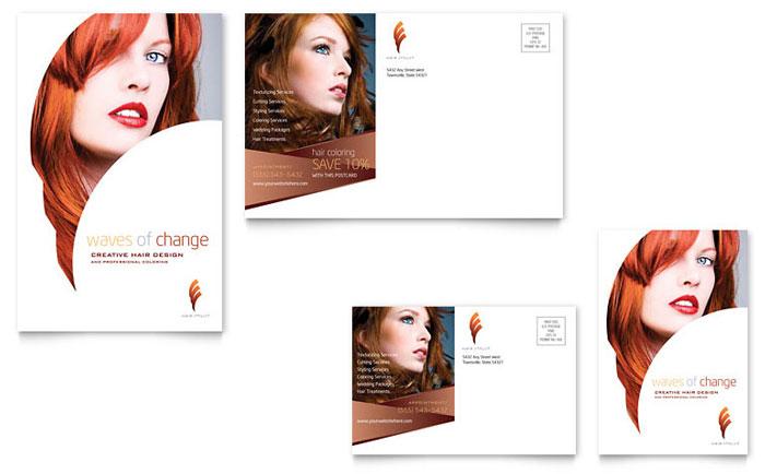 Hair Stylist & Salon Postcard Template Design