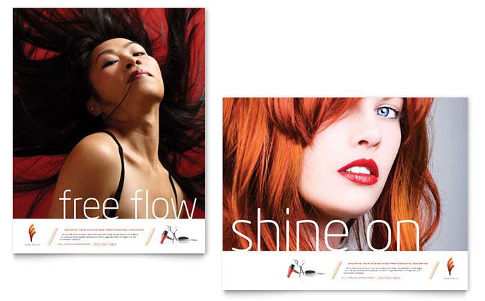 Hair Stylist & Salon Poster Template Design