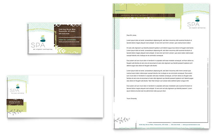 Day Spa Business Card Letterhead Template Design