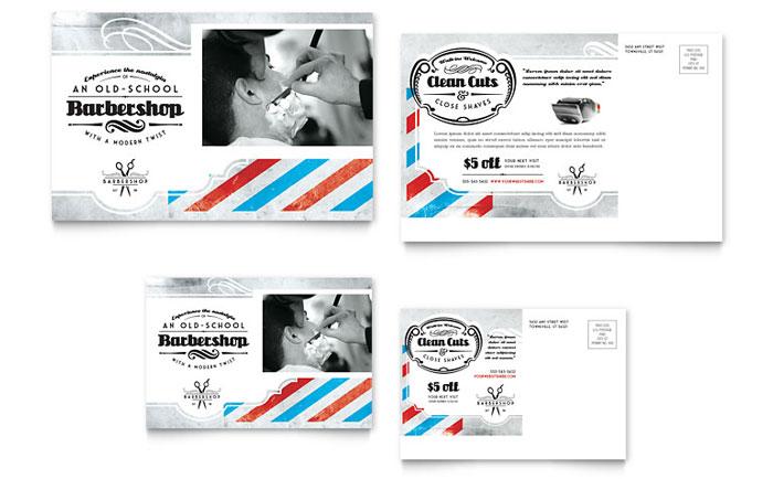 Barbershop Postcard Template Design