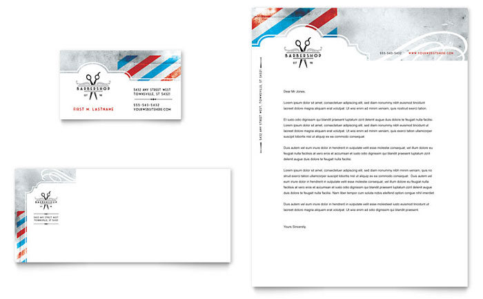 Barbershop Business Card & Letterhead Template Design