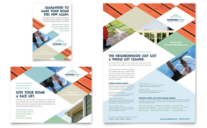 Window Cleaning & Pressure Washing Flyer & Ad Template Design