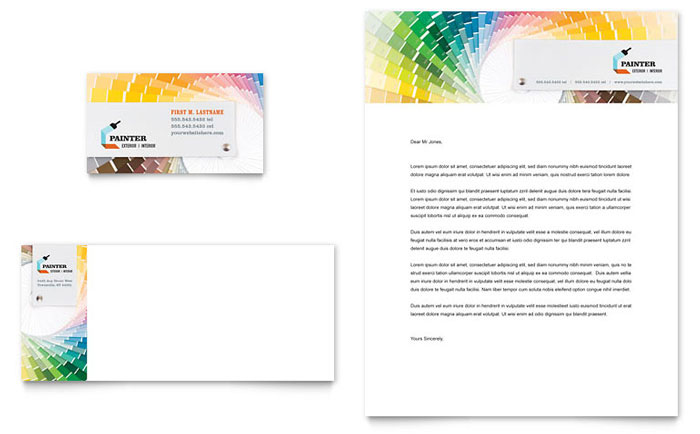 House Painting Contractor Business Card & Letterhead