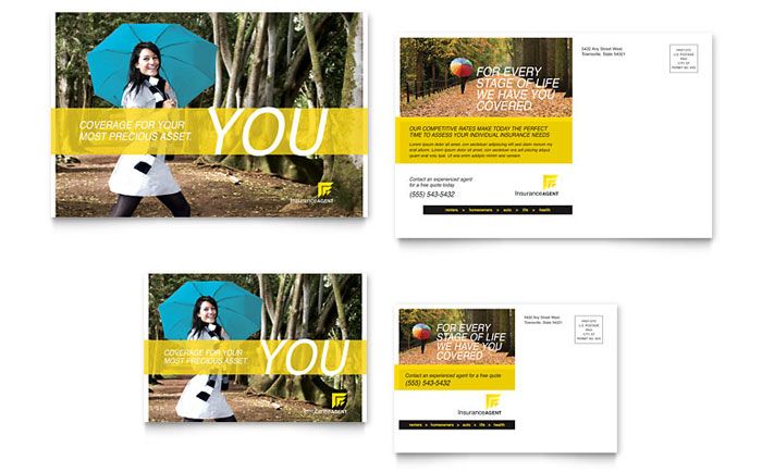 Insurance Agent Postcard Template Design