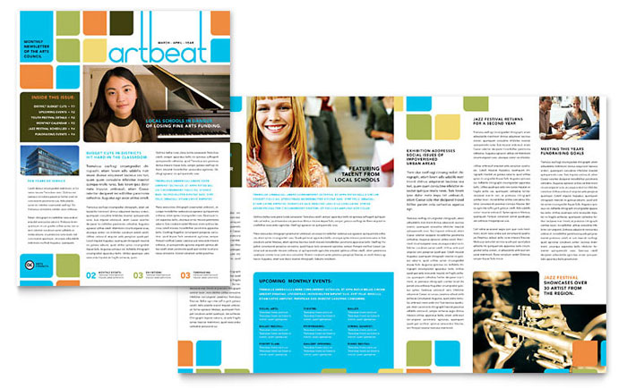 Arts Education Newsletter Design Example