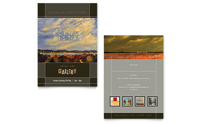 Art Gallery  Artist Invitation Template Design