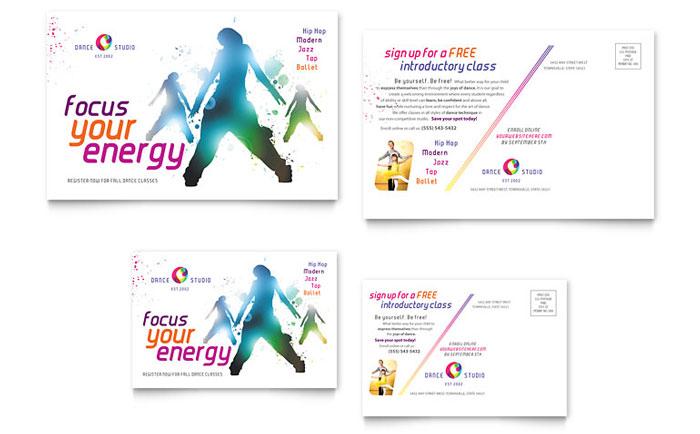 Dance Studio Postcard Design