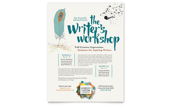 Writeru0027s Workshop Brochure Template Designsanta Birthday Party
