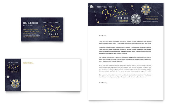 Film Festival Business Card & Letterhead Template Design