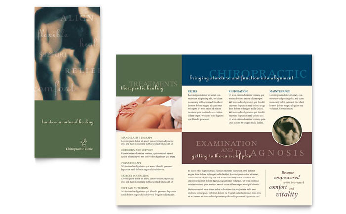 Chiropractor & Massage Therapist Tri Fold Brochure Templates