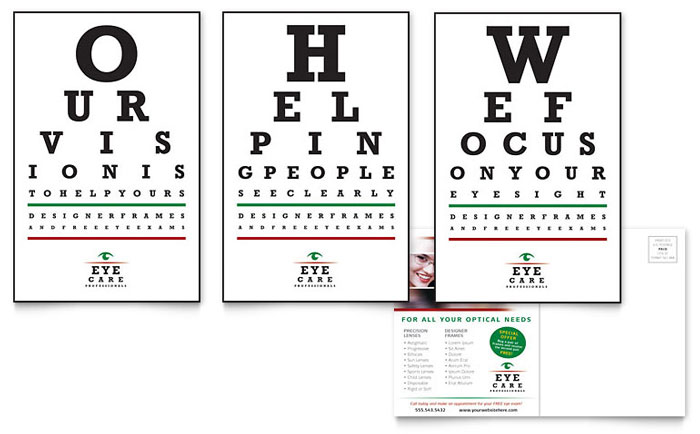 Optometrist & Optician Postcard Template Design