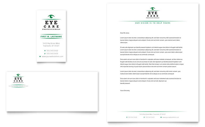 Optometrist & Optician Business Card & Letterhead Template