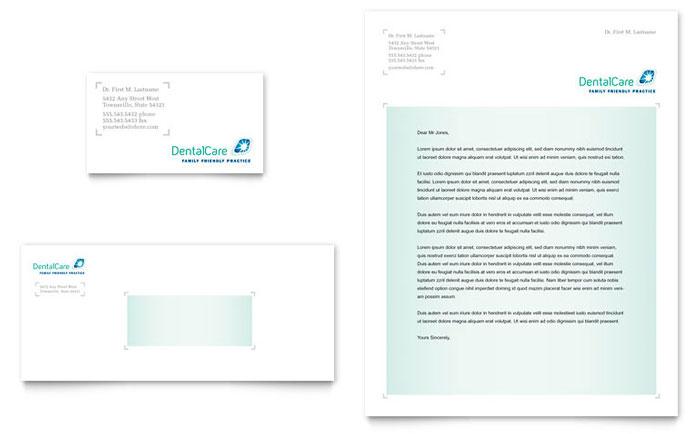 Dental Care Business Card & Letterhead Template Design