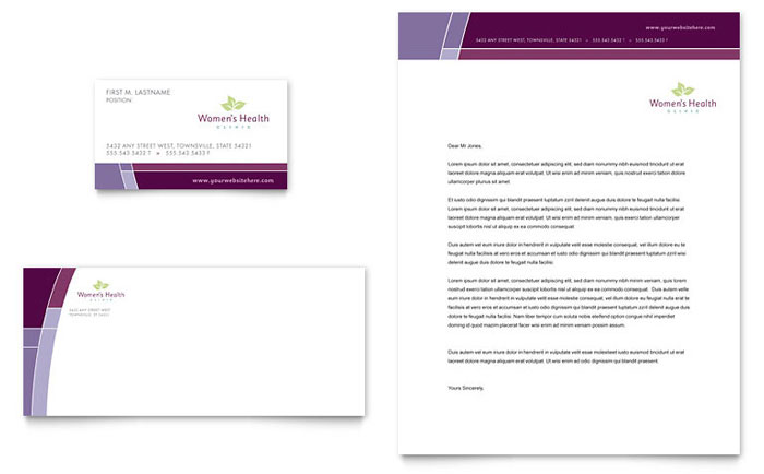 Women's Health Clinic Letterhead & Business Card Design