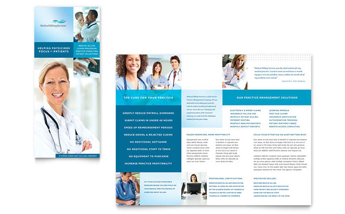Medical Billing & Coding Tri Fold Brochure Template Design