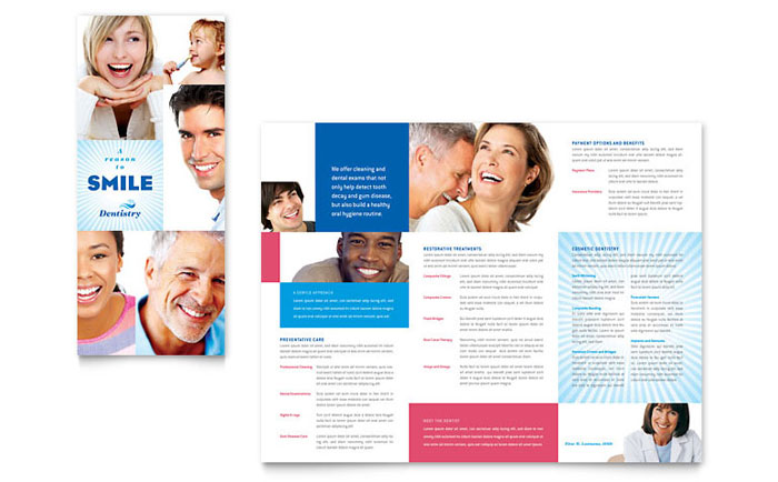 Family Dentistry Tri Fold Brochure Template Design