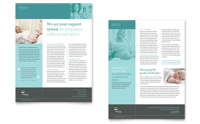 Pregnancy Clinic Datasheet Template Design