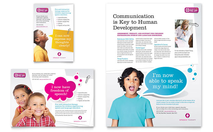 Speech Therapy Education Flyer & Ad Template Design