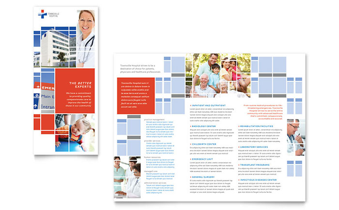 Hospital Tri Fold Brochure Template Design