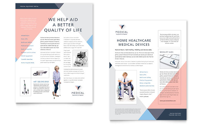 Disability Medical Equipment Datasheet Template Design