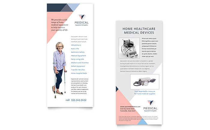 Disability Medical Equipment Rack Card Template Design