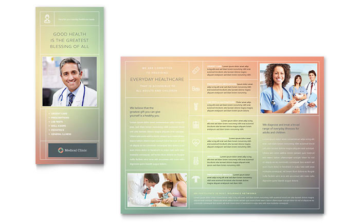 Medical & Health Care Tri Fold Brochure Templates