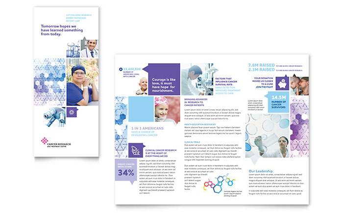 Cancer Treatment Tri Fold Brochure Template Design