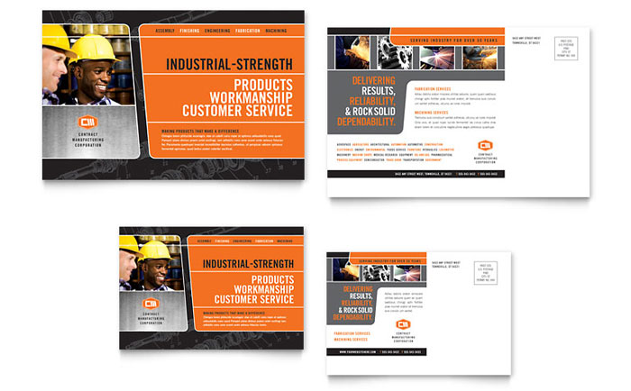 Manufacturing Engineering Postcard Template Design