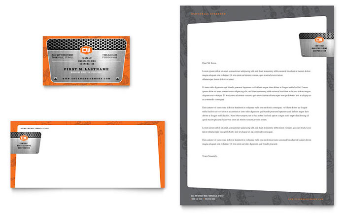 Manufacturing Engineering Business Card  Letterhead Template Design