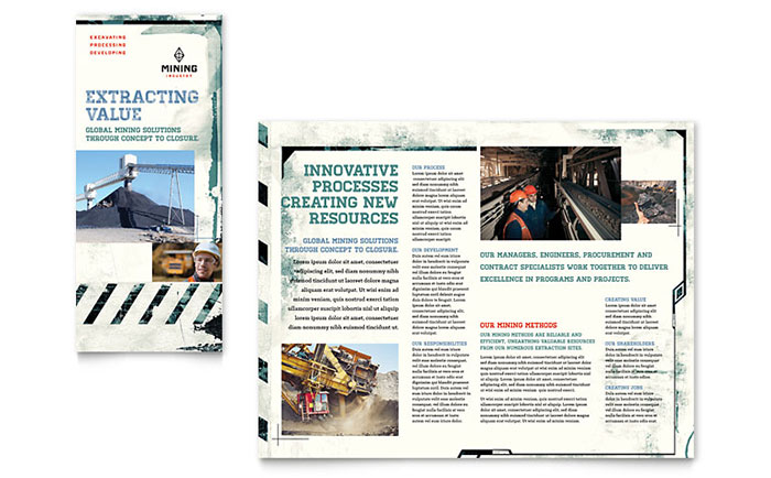 Mining Company Tri Fold Brochure Template Design