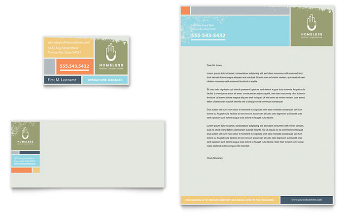 Homeless Shelter - Business Card & Letterhead Design Sample