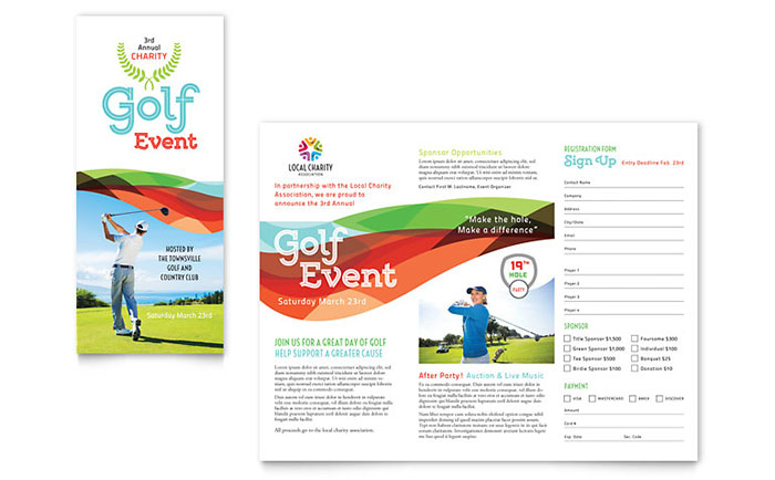 Charity Golf Event Brochure Template Design