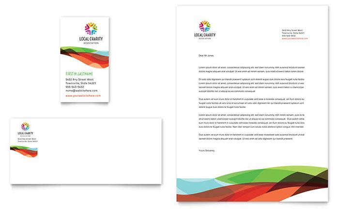 Charity Golf Event Business Card & Letterhead Template Design